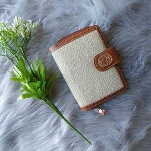 Vtg Michael Steven Cream Peeble Leather Wallet